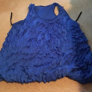 Debs Blue tank with ruffled on front & solid baxk